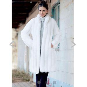 Jackets & Blazers - White Mink Knee-length Faux Fur coat NWOT